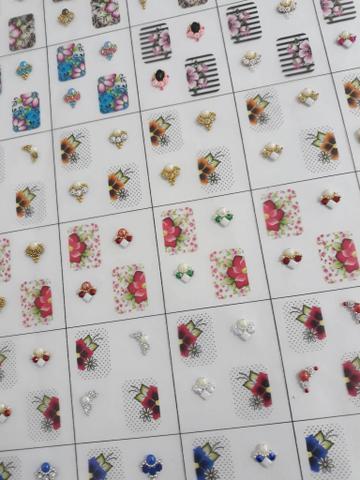 Imagem de Kit 10 cartelas de películas para unhas com joias