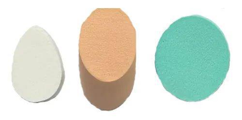 Imagem de Kit 10 Esponja Maquiagem Facial Coxinha Quadrado Queijo Base Corretivo