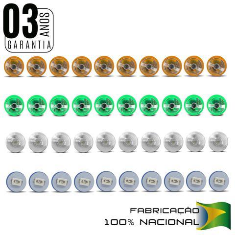 Imagem de Kit 10 Lâmpadas T5 W5W Pingo Esmagadinha 5W 12V Aplicação Painel Todas as Cores Autopoli