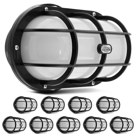 Imagem de Kit 10 Luminárias Arandela Tartaruga LED 12W 3000K Branco Quente Teto Externa Parede Bivolt Preta