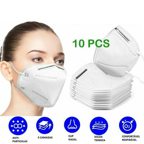 Imagem de kit 10 Máscara Proteção Hospitalar KN95 Clip Nasal Externo Bfe95,5%