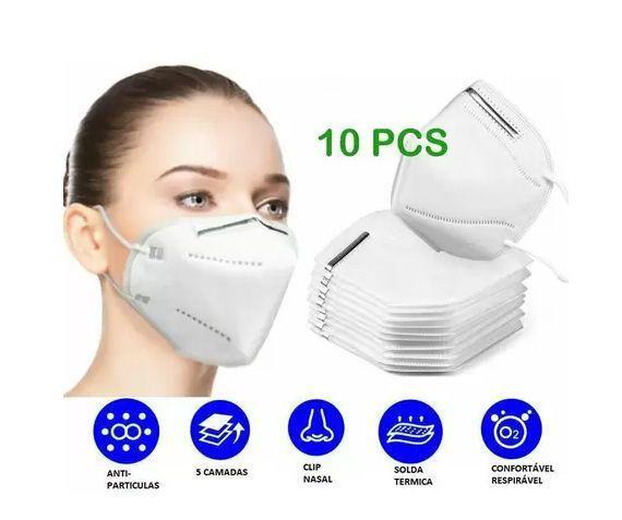 Imagem de kit 10 Máscara Respiratória  KN95 Clip Nasal Externo Com ANVISA