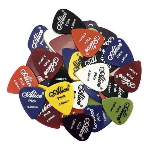 Imagem de Kit 10 Palhetas Alice para Guitarra, Violão, Ukulele, Cavaco e Baixo cores e tamanhos variados