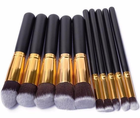 Imagem de Kit 10 Pinceis Para Maquiagem Kabuki Preto Com Dourado
