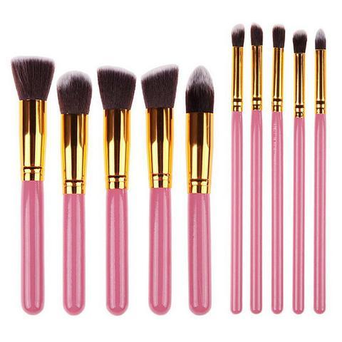 Imagem de Kit 10 Pinceis Para Maquiagem Kabuki  Rosa Sombra Base
