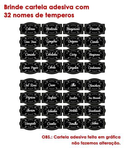 Imagem de Kit 10 Potes 100ml para Temperos Tampa com furinhos + 32 Adesivos
