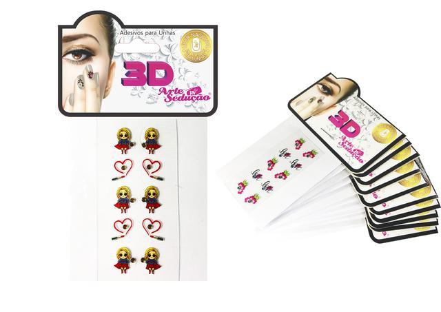 Imagem de Kit 100 Adesivos de Unha 3D, Arte Sedução.