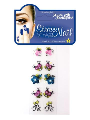 Imagem de Kit 100 Adesivos para Unhas Strass Nail, 100% Artesanal