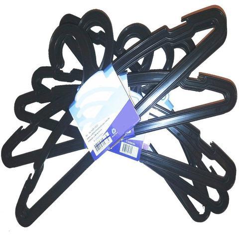 Imagem de Kit 100 Cabide Plástico Preto Adulto Reforçado Dupla Cava Antideslizante para Guarda Roupas e Closet