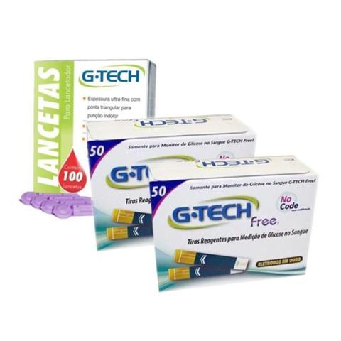 Imagem de kit 100 Tiras Fitas Free + 100 Lancetas Para Medição De Glicose G Tech Free - G-Tech
