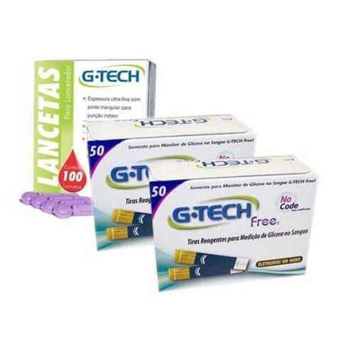 Imagem de Kit 100- Tiras Fitas Free E 100- Lancetas Para Medição De Glicose