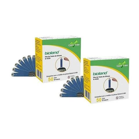 Imagem de Kit 100 Tiras G-423s Para Medidor De Glicemia Bioland G500