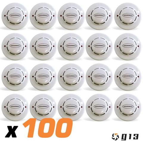 Imagem de Kit 100x Detector Incêndio Fumaça Segurimax Convencional Contato Seco 12/24V 26855