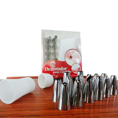 Imagem de Kit 12 Bicos com Bisnaga Confeiteiro Decorador Bolo CupCake Torta