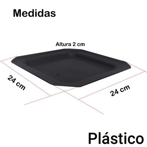 Imagem de Kit 12 Pratos Rasos Plástico Quadrado 24x24cm para Salada Lanche Cozinha Festa Buffet Cor: Preta