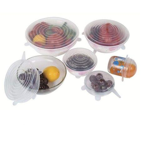 Imagem de Kit 12 tampas silicone fechamento hermético pote panela forma refratário copo reutilizável