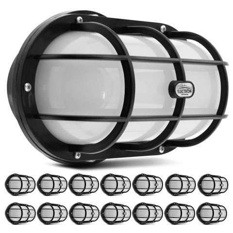 Imagem de Kit 15 Luminárias Arandela Tartaruga LED 12W 3000K Branco Quente Teto Externa Parede Bivolt Preta