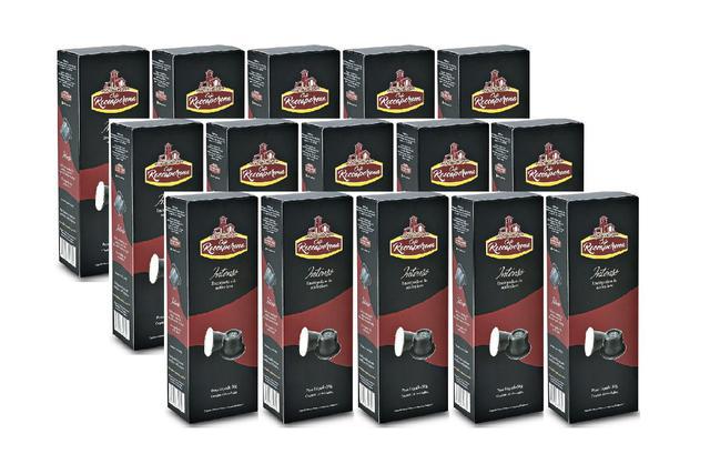 Imagem de Kit 150 Cápsulas de Café Roccaporena Compatível Com Nespresso - 15 Caixas Intenso