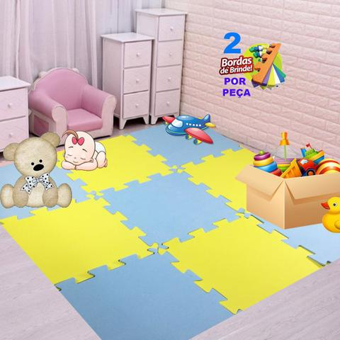 Imagem de Kit 16 Pçs Tapete emborrachado De Eva Tatame azul BB Amarelo Infantil 50x50x1cm