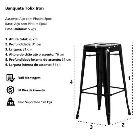 Imagem de Kit 2 Banquetas Tolix Iron Design Preta