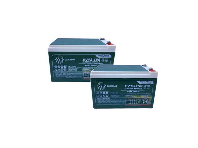 Imagem de Kit 2 Bateria Gel 12v 15ah 6-dzm-12 Two Dogs Bike Elétrica