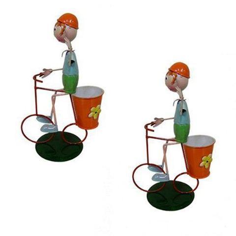 Imagem de Kit 2 Bonecos Com Bicicleta Para Enfeitar Decorar Jardim