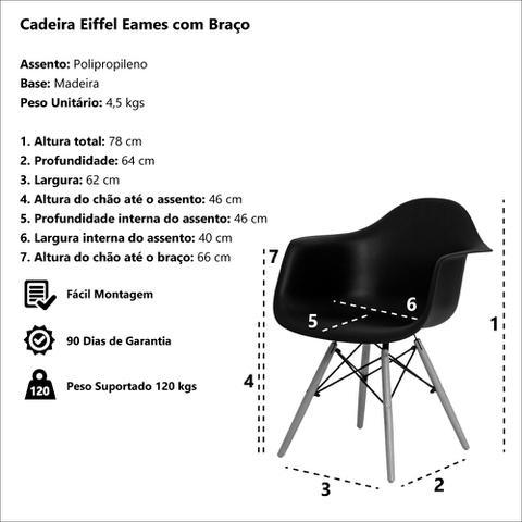 Imagem de Kit 2 Cadeiras Eiffel Eames DAW c/Braço Vermelha Base Madeira
