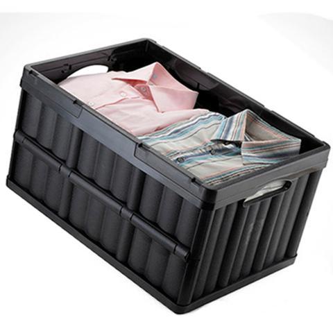 Imagem de Kit 2 Caixa Organizadora Dobrável Plástica Multiuso Empilhável para Compras Mercado Arthi 1597 Cor Preta
