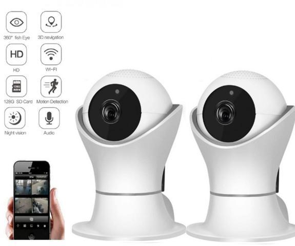 Imagem de kit 2 Câmera Robo Ip Wifi Wireles Full HD 1080p Áudio Visão Noturna Grava em nuvem
