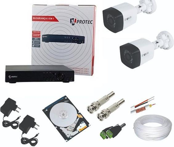 Imagem de Kit 2 Câmeras de Segurança 720p + DVR 4 Canais Com Acesso à Internet Protec