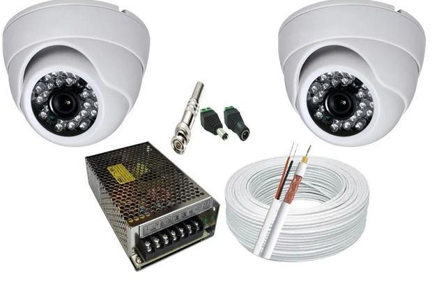 Imagem de Kit 2 Câmeras Dome Infra vermelho Hd alta Resolução com acessórios