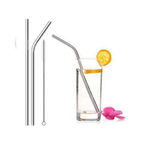 Imagem de Kit 2 Canudos Inox Reutilizáveis Reto e Curvo + Escova