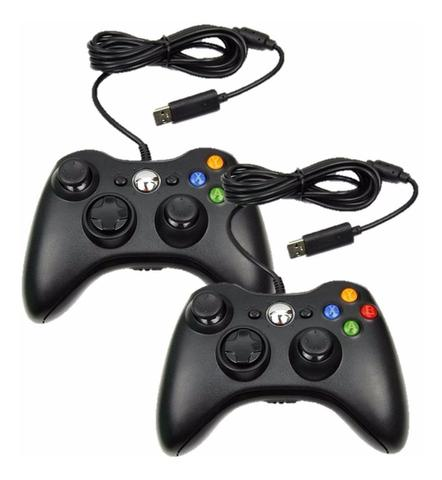 Imagem de Kit 2 Controles Manete Compatível Xbox 360 Slim Pc Com fio