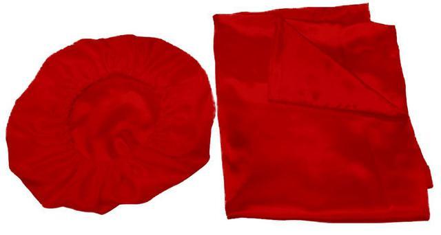 Imagem de Kit 2 Fronhas 50x70 +1 Touca De Cetim Anti Frizz Vermelho