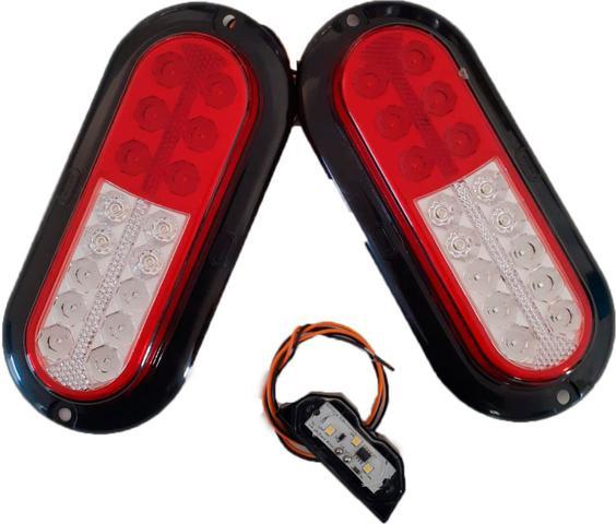 Imagem de kit 2 lanterna + 1 luz de placa carretinha