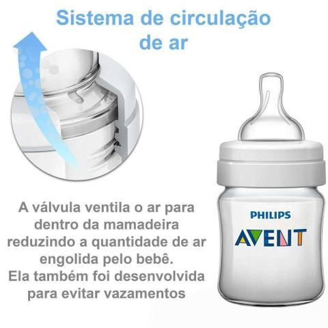 Imagem de Kit 2 Mamadeiras Anticolicas Philips AVENT 125ML + 260ML Classic SCD372/01