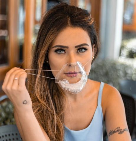 Imagem de Kit 2 Mascaras Transparentes Com Filtro M19 Lavável Vedação 100%