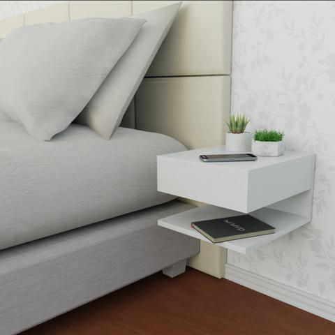 Imagem de Kit 2 Mesa de Cabeceira Com Gaveta e Prateleira Branco