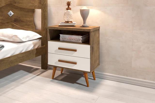Imagem de Kit 2 Mesas de Cabeceira Retrô Alice 2 Gavetas Jequitiba com Off White - E E Móveis