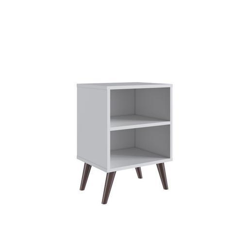 Imagem de Kit 2 Mesas de Cabeceira Retrô com Prateleira Completa Móveis Branco