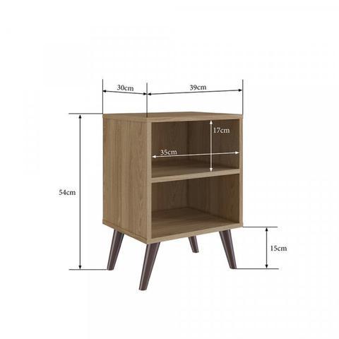 Imagem de Kit 2 Mesas de Cabeceira Retrô com Prateleira Completa Móveis Oak