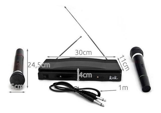 Imagem de Kit 2 Microfones S/fio Receptor Para Karaokê Palesta Igrejas