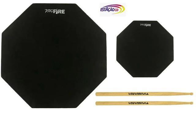 Imagem de Kit 2 Pads de Estudo p/ Percussão - Profire  + Par Baquetas