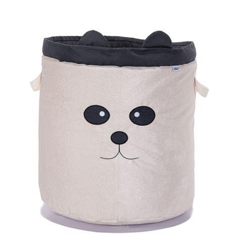 Imagem de Kit 2 Peças Cestos Organizadores de Brinquedos e Roupas com Alça Suede Panda Preto e Bege