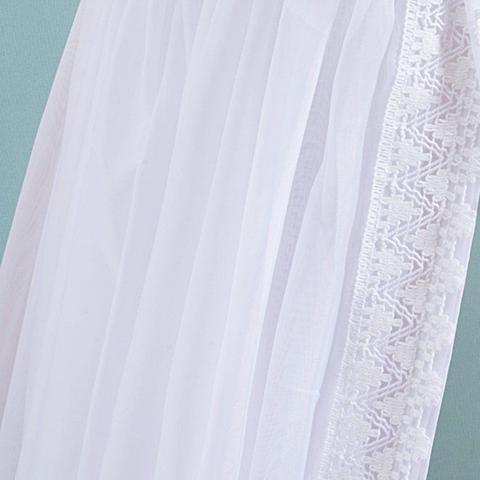 Imagem de Kit 2 Peças Mosquiteiro Voil Branco e Dossel de Parede Branco com Pérolas e Strass