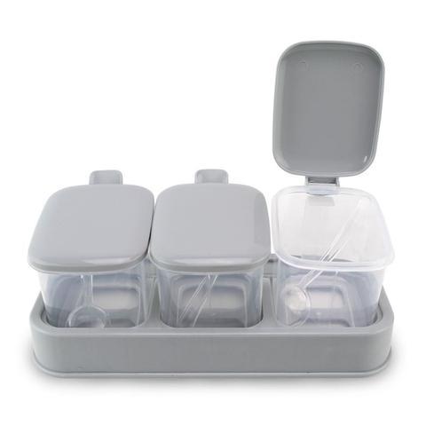 Imagem de Kit 2 Porta Condimentos Plástico Geladeira Mesa com 3 Potes