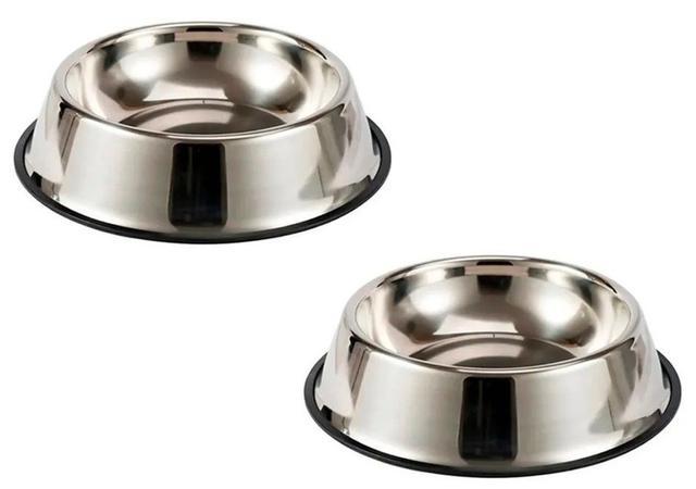 Imagem de Kit 2 Potes Ração Água Inox 26cm Cachorro Gato Comedouro