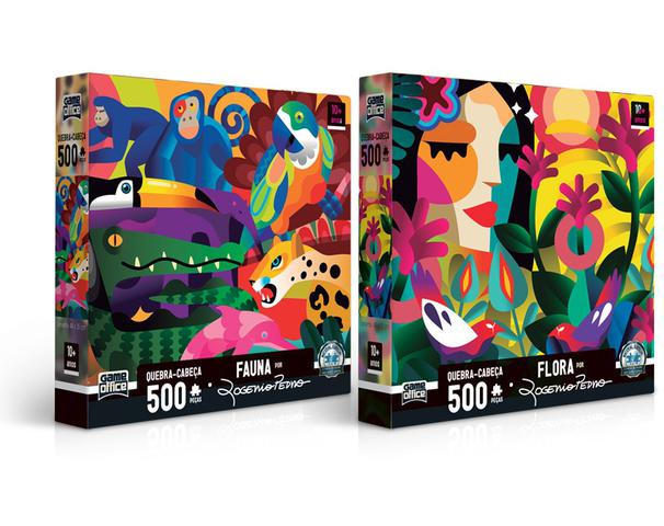 Imagem de Kit 2 Quebra - Cabeça 500 peças - Fauna e Flora - Toyster