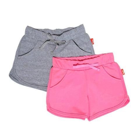 Imagem de Kit 2 Shorts Infantil Jokenpô Malha Feminino Rosa/Cinza