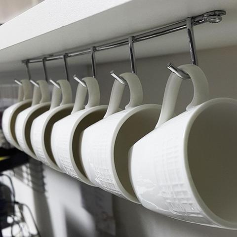 Imagem de Kit 2 Suporte Porta até 6 Xícaras De Café Suspenso para Parafusar Em Aço Cromado